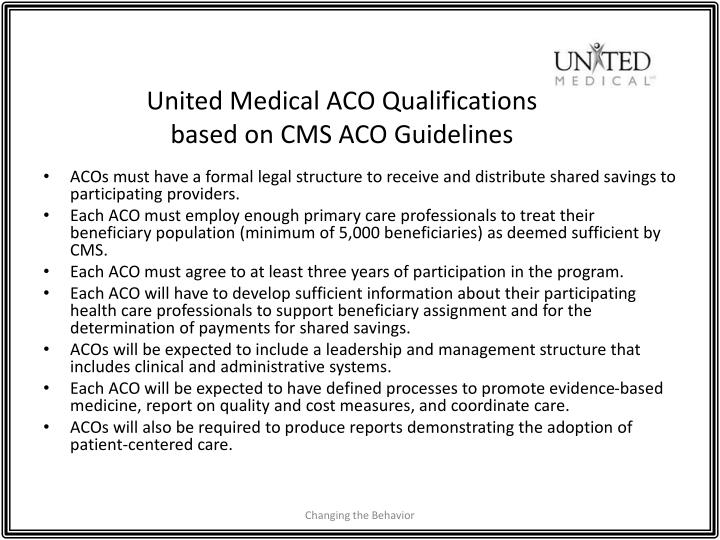 United Medical ACO Qualifications