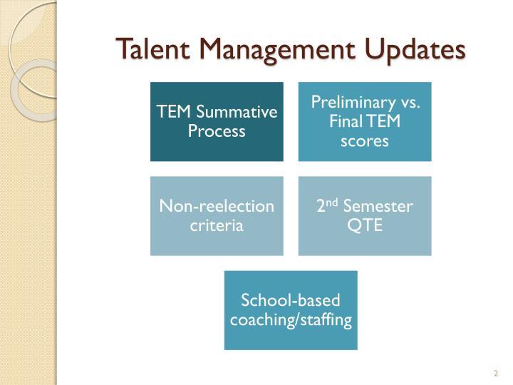 Talent Management Updates