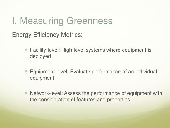 I. Measuring Greenness