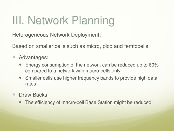 III. Network Planning
