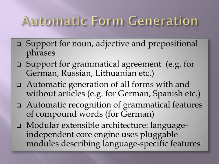 Automatic Form Generation