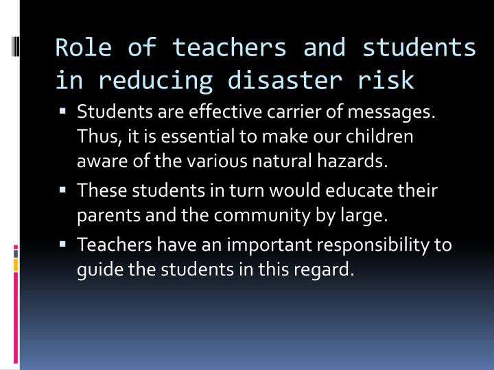 role of student in disaster management essay