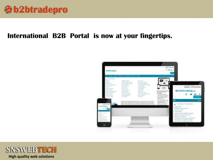 International  B2B  Portal  is now at your fingertips.
