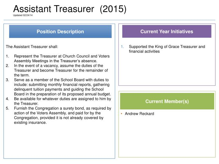 Assistant Treasurer  (2015)