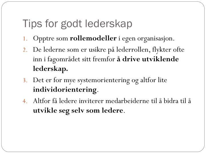 Tips for godt lederskap