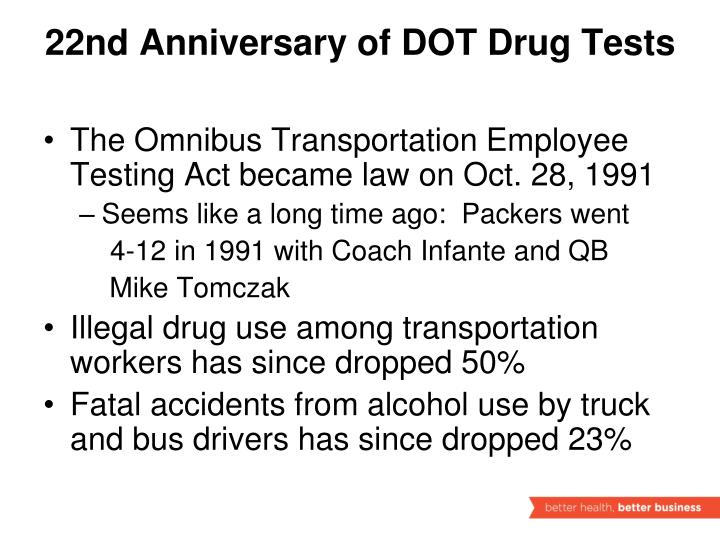 22nd Anniversary of DOT Drug Tests