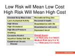 low risk will mean low cost high risk will mean high cost