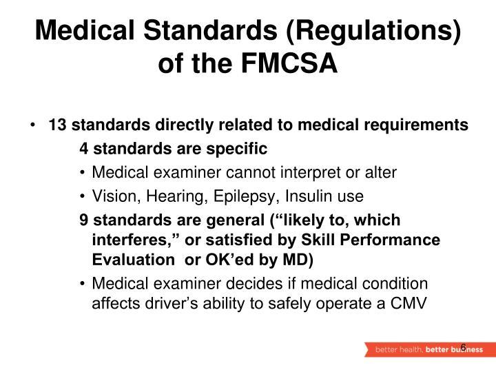 Medical Standards (Regulations)