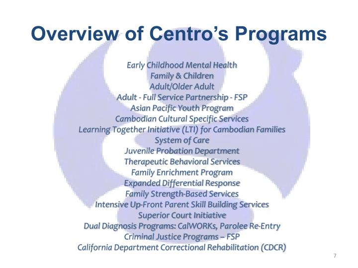 Overview of Centro's Programs