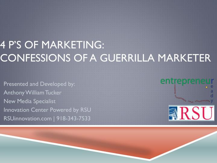 4 p s of marketing confessions of a guerrilla marketer