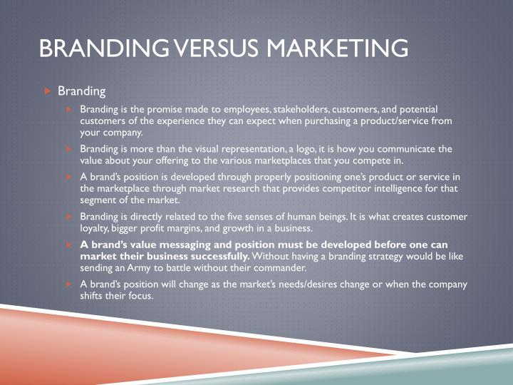 Branding Versus marketing