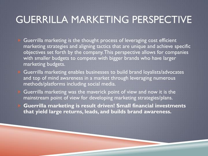 Guerrilla Marketing perspective