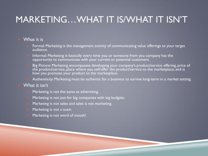 Marketing…What it is/What it isn't
