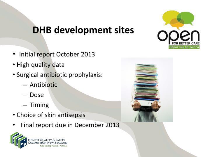 DHB development sites