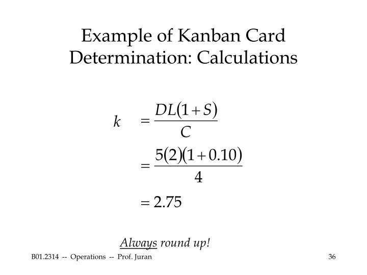 Example of Kanban Card Determination: Calculations