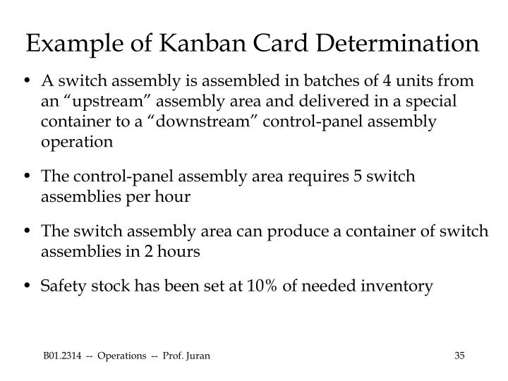 Example of Kanban Card Determination