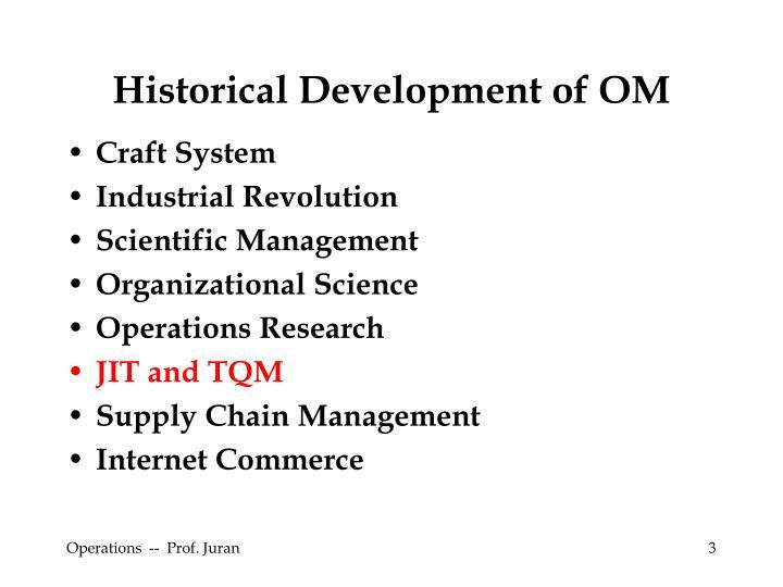 Historical Development of OM