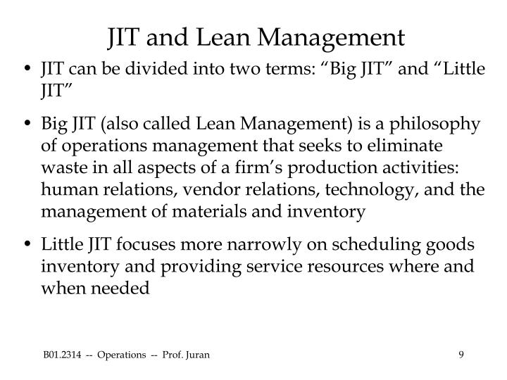 JIT and Lean Management