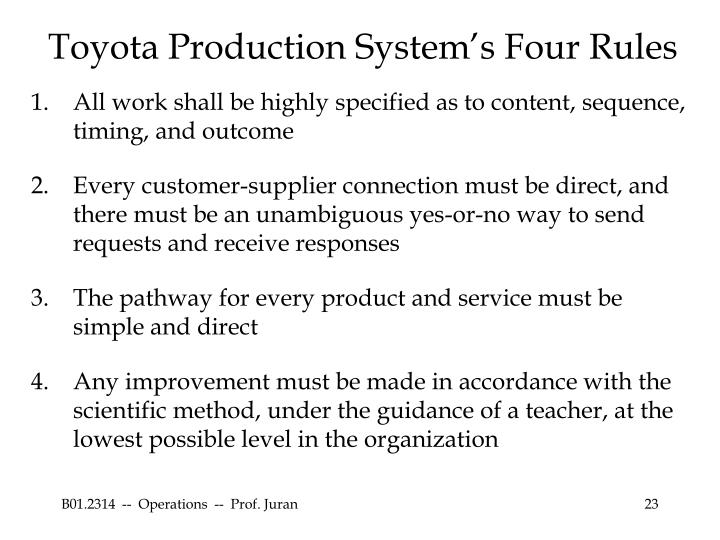 Toyota Production System's Four Rules