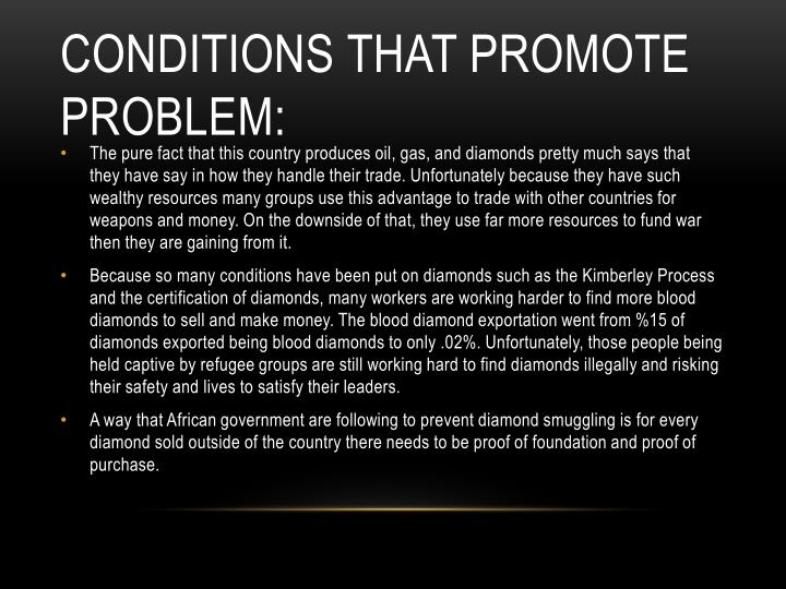 Conditions that promote problem: