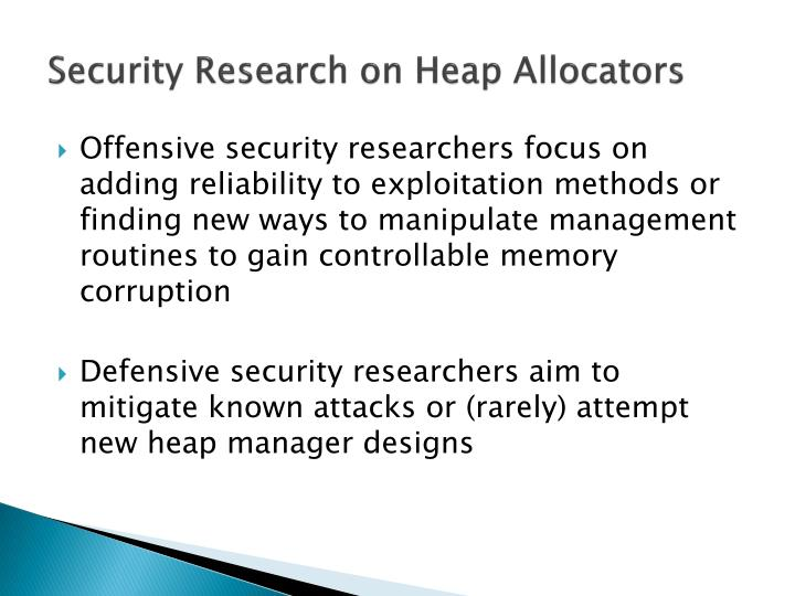 Security Research on Heap Allocators