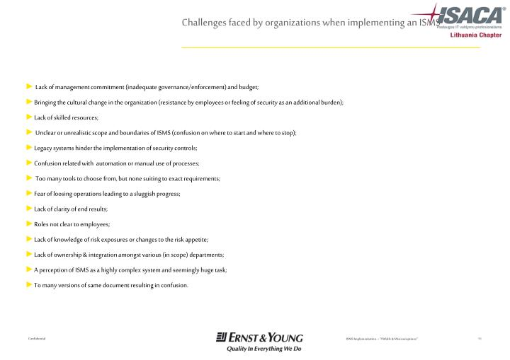 Challenges faced by organizations when implementing an ISMS