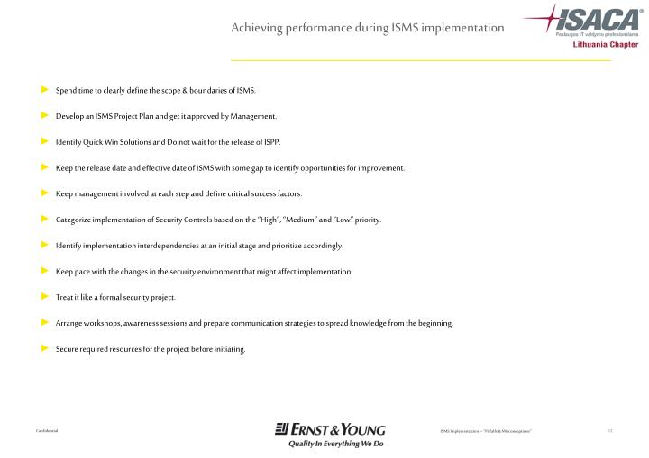 Achieving performance during ISMS implementation