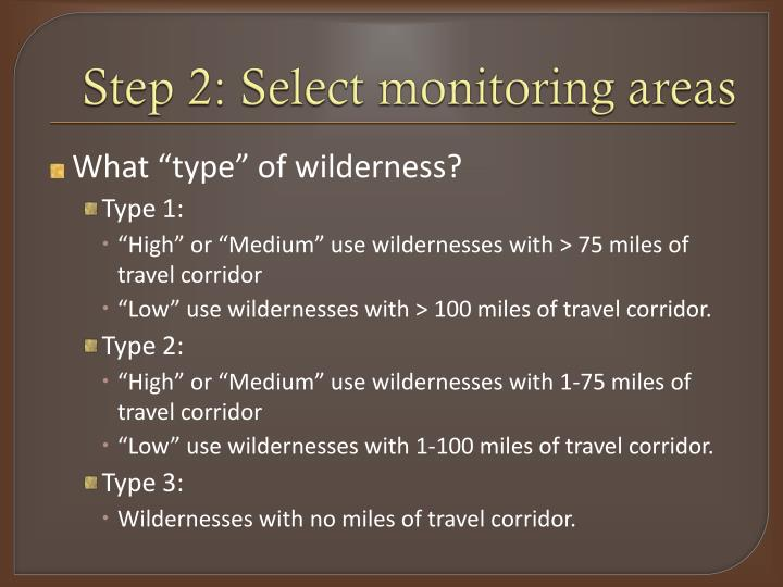 Step 2: Select monitoring areas