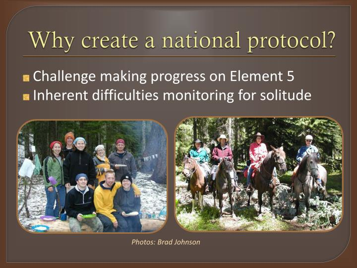 Why create a national protocol?
