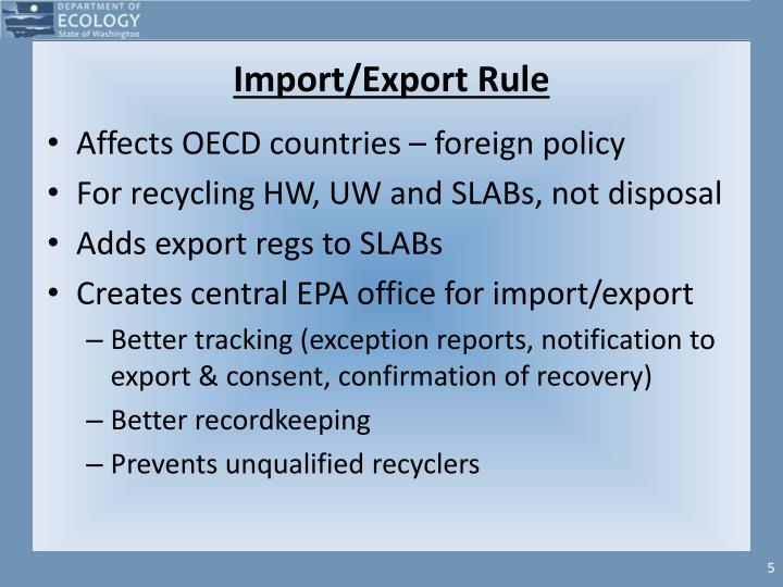 Import/Export Rule