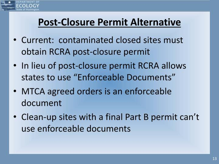 Post-Closure Permit Alternative