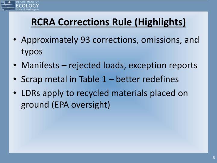 RCRA Corrections Rule (Highlights)