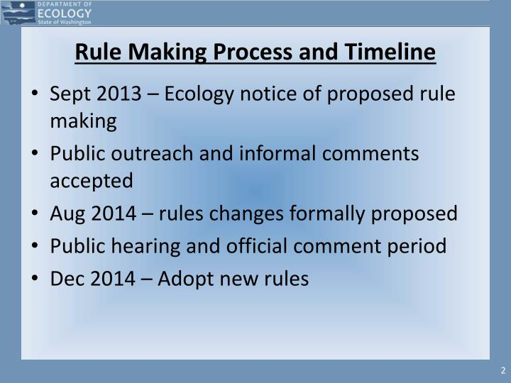 Rule making process and timeline