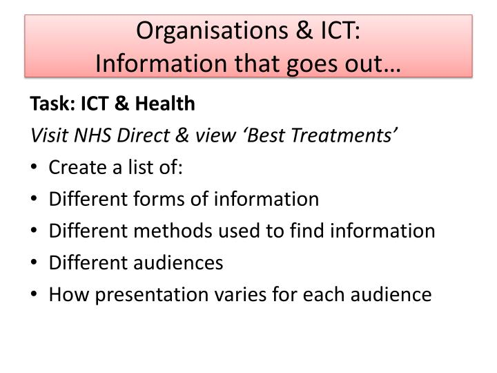 Organisations & ICT: