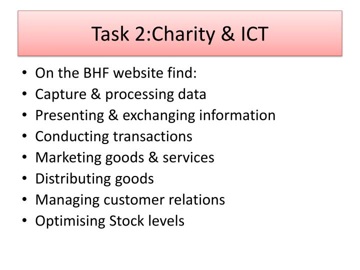 Task 2:Charity & ICT