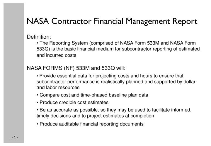 PPT - NASA Contractor Financial Management Report Tutorial ...