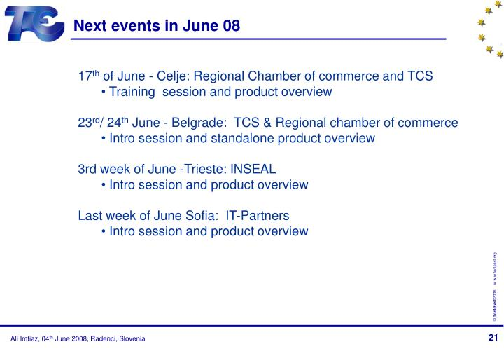 Next events in June 08