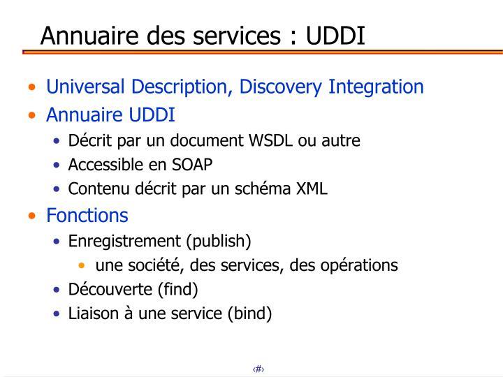 Annuaire des services : UDDI