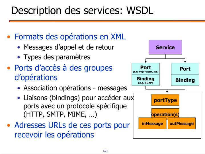Description des services: WSDL