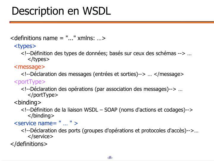 Description en WSDL