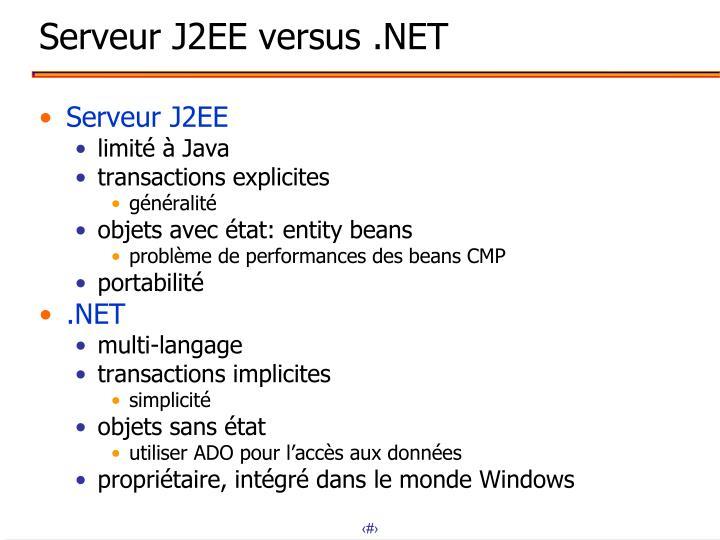 Serveur J2EE versus .NET