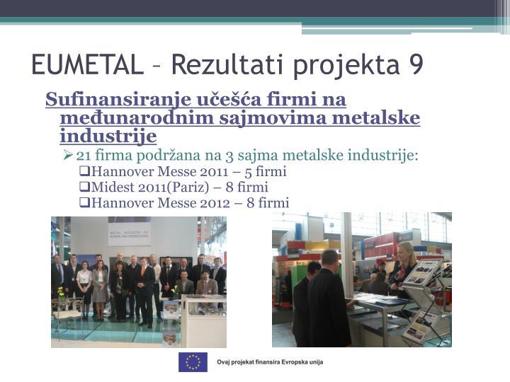 Sufinansiranje učešća firmi na međunarodnim sajmovima metalske industrije
