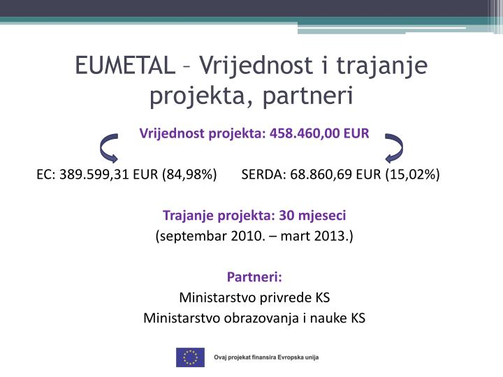 EUMETAL – Vrijednost i trajanje projekta, partneri