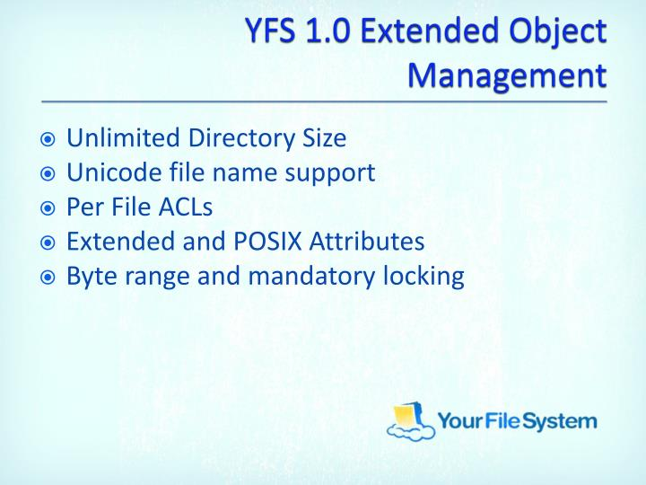 YFS 1.0 Extended Object Management