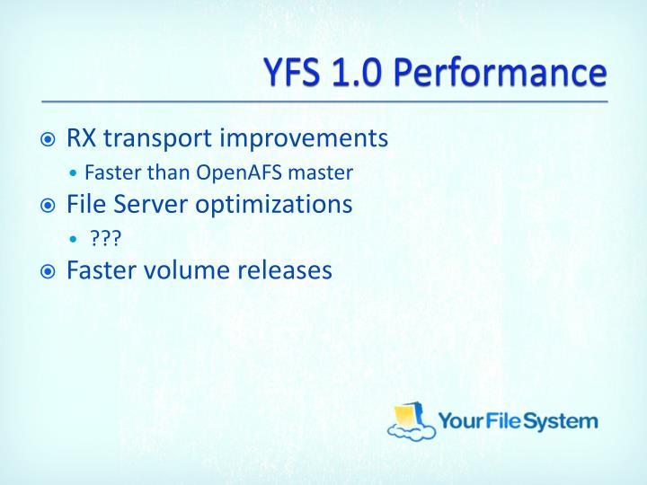 YFS 1.0 Performance