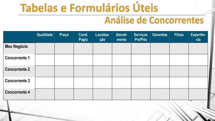 Tabelas e Formulários Úteis