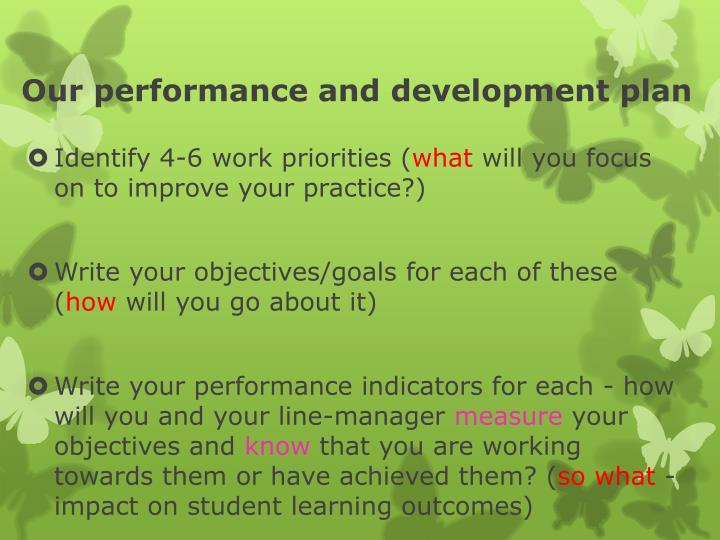 Our performance and development plan