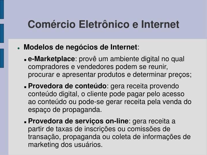 Comércio Eletrônico e Internet