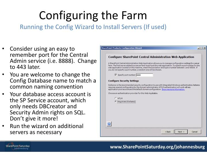 Configuring the Farm