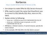 kerberos step 2 enable kerberos from sp servers to sql
